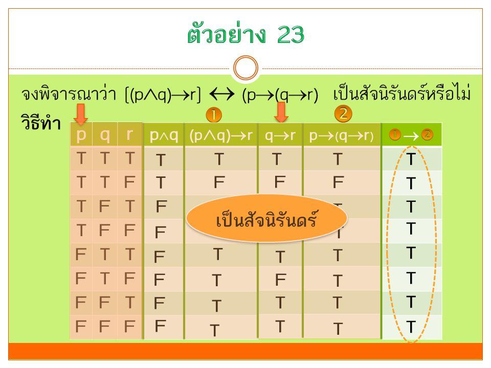 ตัวอย่าง 23 จงพิจารณาว่า [(pq)r]  (p(qr) เป็นสัจนิรันดร์หรือไม่ วิธีทำ   p. q. r. T. F.